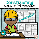 """Constructing Area and Perimeter """"Worksheets"""" (Construction Theme)"""