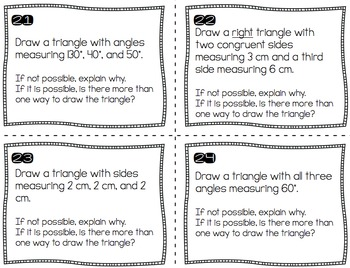 Constructing Geometric Shapes (Focusing on Triangles) - Task Cards (7.G.2)