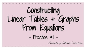Constructing Linear Tables and Graphs from Equations Worksheet #1