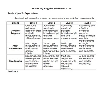 Constructing Polygons Rubric