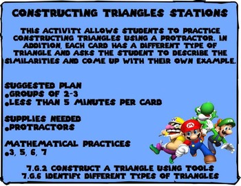 Constructing Triangles Station Cards