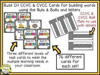 Constructing Words CCVC & CVCC Phonics Station ~ Nuts and Bolts