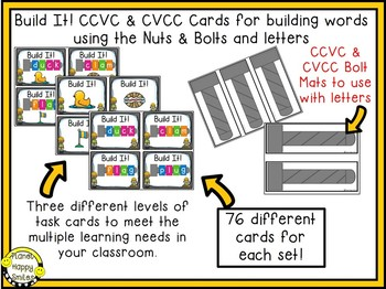 Constructing Words CCVC & CVCC Phonics Station ~ Nuts and Bolts