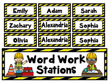 Constructing Words Word Work Station Labels and Rotation Cards