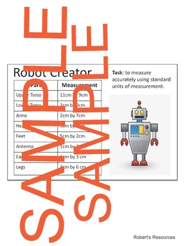 Constructing a Robot Using Area - Activity and/or Assessment of Area