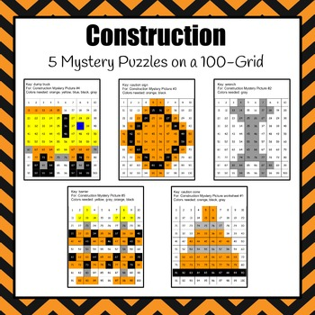 Mystery Pictures: Construction 100-Grid Mystery Pictures