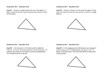 Construction #11:  Constructing an Inscribed Circle - Instructional Diagram