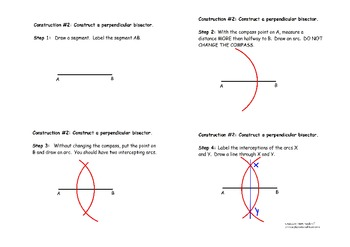 Construction #2:  Perpendicular Bisector - Instructional Diagram
