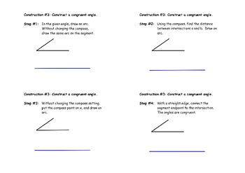 Construction #3:  Congruent Angles - Instructional Diagram