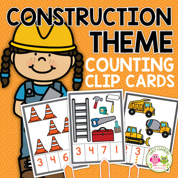 Construction Activities for Preschool | Counting Clip Cards