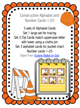Construction Alphabet and Number Cards 1-25