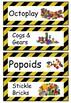 Construction Area Resource Labels - Comic Sans