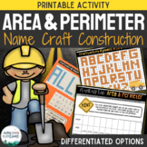 Construction Area and Perimeter Name Craft Activity