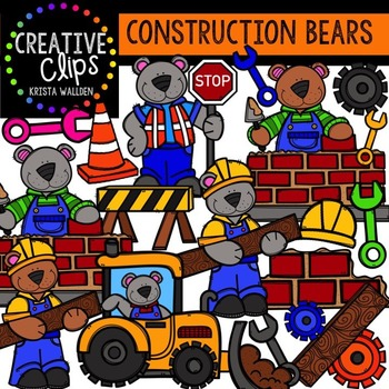 Construction Bears {Creative Clips Digital Clipart}