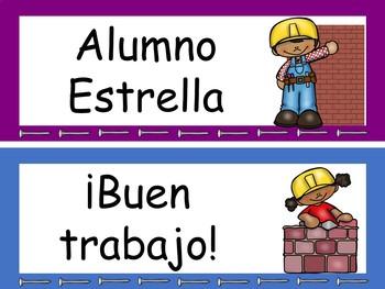 Construction Behavior Clip Chart Editable! {Spanish Version}