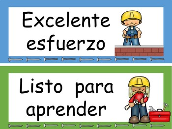 Construction Behavior Clip Chart Editable! {Spanish Version}