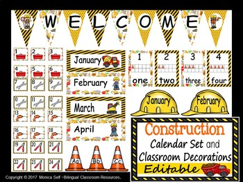 Construction Calendar Set  EDITABLE!
