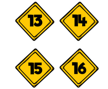 Construction Calender Number Labels-Caution Signs
