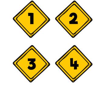 Construction Calendar Number Labels-Caution Signs