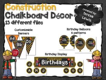 Construction Chalkboard Classroom Decor