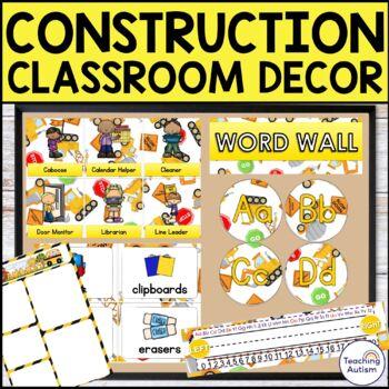 Construction Editable Classroom Decor Pack
