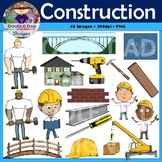Construction Clip Art (Crane, Hammer, Blueprint, Worker, Foreman, House)