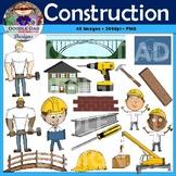 Construction Clip Art (Crane, Hammer, Blueprint, Worker, F