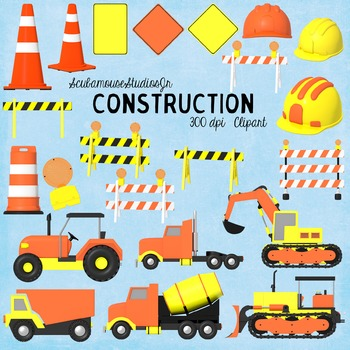 Construction Clipart, Commercial Use Digital Graphics, Tra