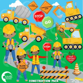 Construction Clipart, Road Work Clipart, African American Clipart AMB-1049