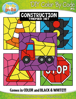 Construction Color By Code Clipart {Zip-A-Dee-Doo-Dah Designs}