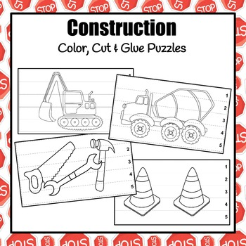 Construction Color, Cut and Glue Puzzles