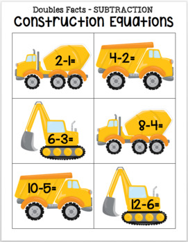 Construction Equations - Subtraction Doubles Facts