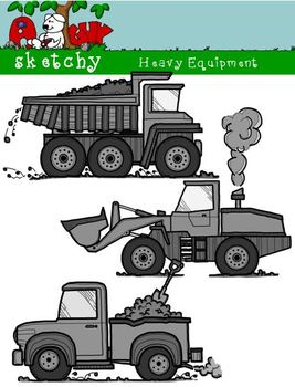 Construction Heavy Equipment Themed Clipart Color, BW, Black Lined 300dpi