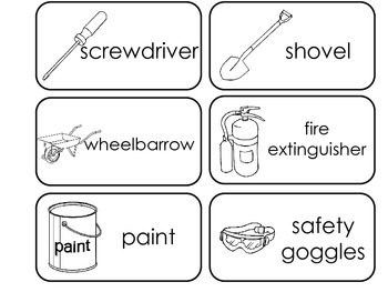 Construction Equipment printable Picture Word Flash Cards. Preschool flashcards.
