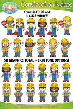 Construction Kiddos Characters Clipart {Zip-A-Dee-Doo-Dah Designs}