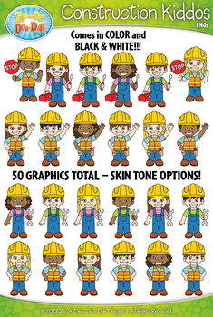 Construction Kid Characters Clipart Set — Includes 50 Graphics!