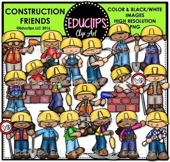 Construction Kids Clip Art Bundle {Educlips Clipart}