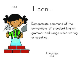 Construction Kindergarten English Common core standards posters