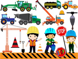 Construction Machines Clip Art dump cement transporation WORK SIGNS school -038-