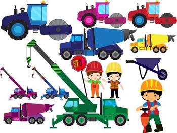 Construction Machines Clip Art dump cement transporation WORK SIGNS school -038-