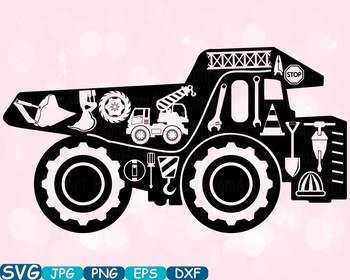 Construction Machines Dump Trucks Silhouette SVG clipart site Building  -645s