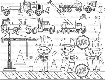 Construction Machines Outline Clip Art Stamp Coloring Pages Builders