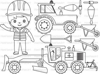 Construction Machines Outline Clip Art stamp coloring pages builders WORK -061-