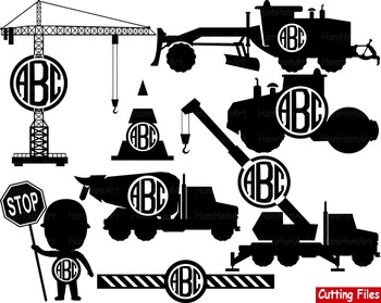 Construction Machines toy truck crane Clip Art school Logo svg monogram -044s