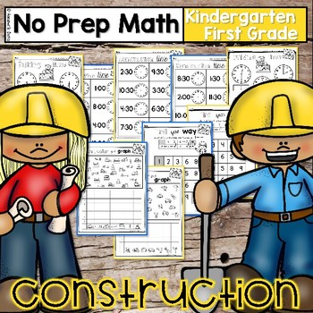 Construction Math -No Prep- Kindergarten and 1st Grade Worksheets
