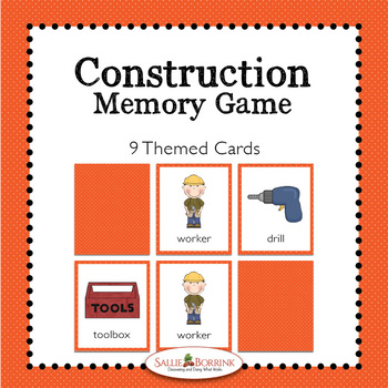 Construction Memory Game - Construction Theme Activity