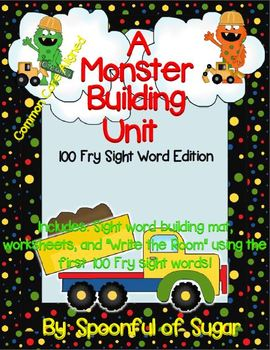 Construction Monster  Sight Word Unit (Fry First 100 Sight Words)