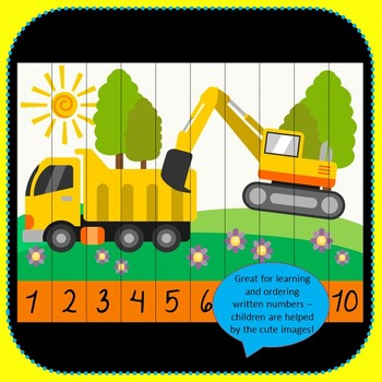 Construction Number Puzzles - 20 Kindy Construction Puzzles 1-10 + Times Tables