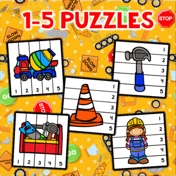 Construction Number Sequencing Puzzles - Set of 10