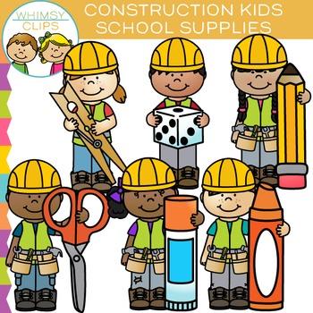 Kids School Supplies for Construction Clip Art